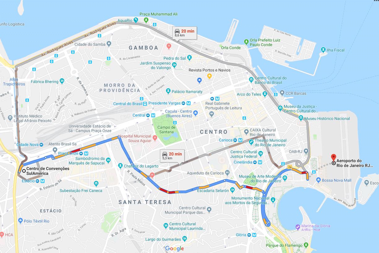 Distância para o aeroporto Santos Dumont